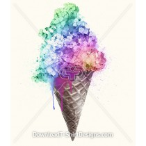 Watercolor Flower Rainbow Ice Cream Cone
