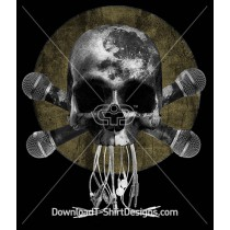 Dark Moon Skull Music Microphone Cross Wires