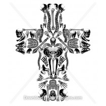 Sinister Skull Bones Cross Collage
