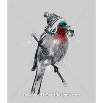 Watercolor Sparrow Bird Winter Hat