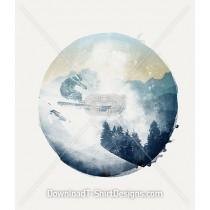 Winter Mountain Ski Slope Circle