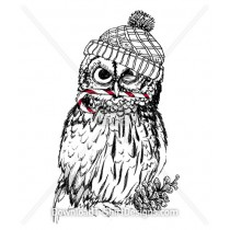Illustrated Christmas Owl Bird Hat
