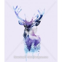 Watercolor Winter Deer Stag Head