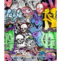 Crazy Graffiti Colorful Mashup Pattern