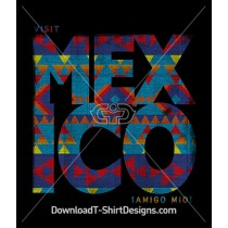 Visit Mexico Aztec Pattern Words