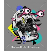 Retro 80's Memphis Geometric Skull