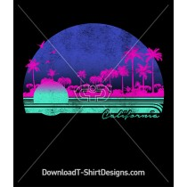 Retro California Sunset Palm Trees