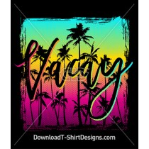 Retro Sunset Palm Tree Vacay Gradient