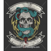 Snake Skull Banner Lightening Bolt Tattoo