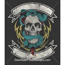 Snake Skull Banner Lightening Bolt Tattoo