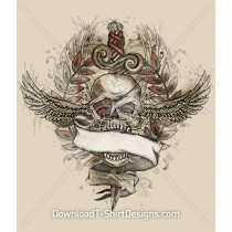 Pirate Skull Wings Dagger Tattoo