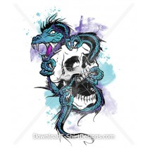 Dragon Screaming Skull Watercolor Tattoo