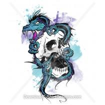 Dragon Screaming Skull Watercolor Tattoo