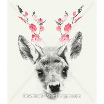 Illustrated Deer Fawn Floral Antlers