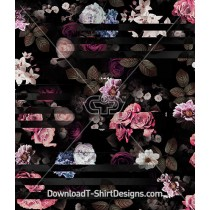 Broken Line Dark Floral Rose Seamless Pattern