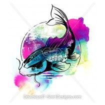 Bright Rainbow Watercolor Koi Fish Illustration