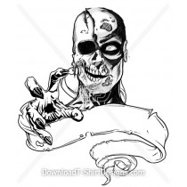 Zombie Skull Illustration Hand Banner