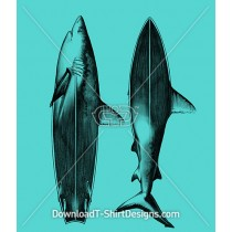 Illustrated Shark Surfboard Fin