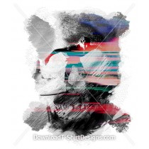 Watercolor Glitch Surfer Wave Skull Cross