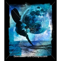 Watercolor Kiteboard Surfer Waves Moon