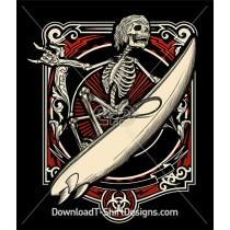 Skeleton Surfer Surfboard Banner Frame