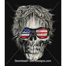 Rocker Skull American Flag USA Sunglasses