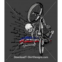Skeleton BMX Bike Rider Paintbrush Wall