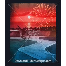 Sunset Firework Skateboard Beach