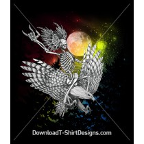 Skeleton Riding Eagle Moonlight Galaxy