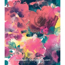 Abstract Painted Watercolor Floral Repeat