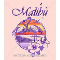 Retro Malibu Summer Flamingo Hibiscus