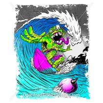 Psychedelic Monster Surfer Wave Comic Cartoon