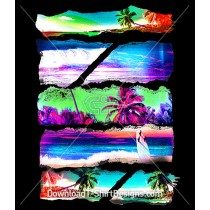 Torn Paper Psychedelic Tropical Beach Scene