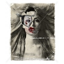 Zombie Torn Paper Female Portrait