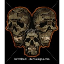 Scary Camouflage Stitched Skulls