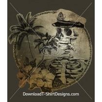 Tropical Palm Illustrated Sailor Skull Skeleton
