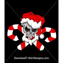 Christmas Candy Cane Skull