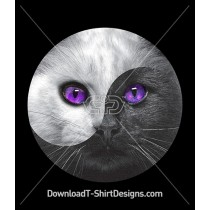Cosmic Eyes Ying and Yang Kitten Cat