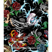 Pirate Skull Mermaid Rose Dragon Tattoo Seamless Pattern
