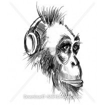 Monkey Animal Music Headphones Sketch