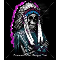 Indian Headdress Feathers Skeleton