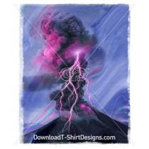 Holographic Glitch Lightning Volcano Explosion
