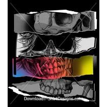 Torn Ripped Paper Skull Illustration