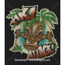 Vintage Tiki Attack Tribal Mask Palm Trees