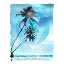 Blue Paradise Palm Tree Space Clouds Stars