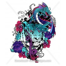 Japanese Oriental Tiger Dragon Flower Water Tattoo