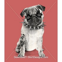 Punk Pug Puppy Dog Studded Collar Tattoo