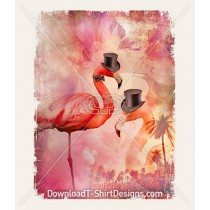 Tropical Sunset Dapper Top Hat Flamingo Birds