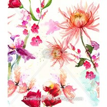Delicate Faded Floral Watercolor Repeat