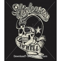 Vintage Highway to Hell Biker Skull Banner